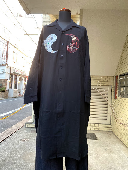STOF(ストフ)IN AND YAN LONG SHIRT/BLACK