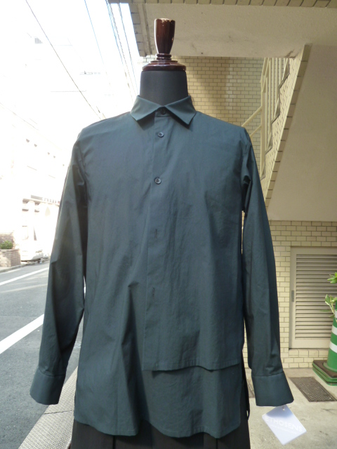 ETHOSENS(エトセンス)Layer Pullover Shirt    Green