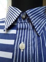 SEVESKIG:PANEL STRIPE SHIRT (BLUE)
