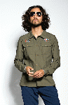 SEVESKIG:MILITARY EMBROIDERY SHIRT (GREEN)