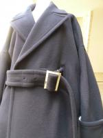 Ujoh(ウジョー):Belted Straight Coat (Navy)