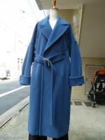 Ujoh(ウジョー):Belted Straight Coat (Blue)