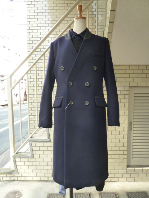 Ujoh:Stand chesterfield coat(Navy)